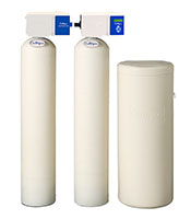 Culligan® High Efficiency (HE) Twin Series Water Softener Systems with Brine Tank